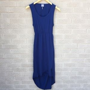 Bobi Cross Front Open Back Blue Dress